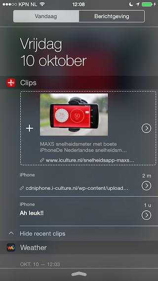 Clips review widget gekopieerde afbeelding