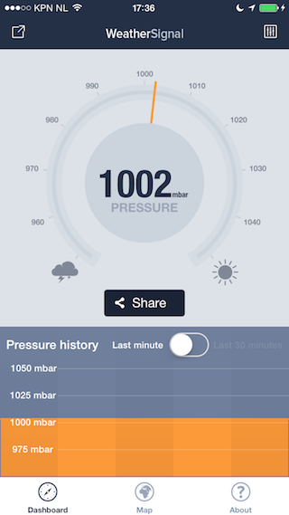 WeatherSignal review iPhone luchtdruk