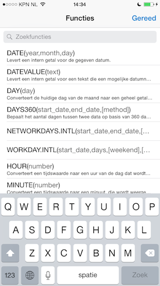 Quip spreadsheets iphone functies