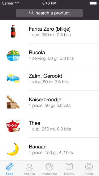 Foodzy iPhone producten zoeken