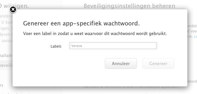 Apple ID app specifiek wachtwoord