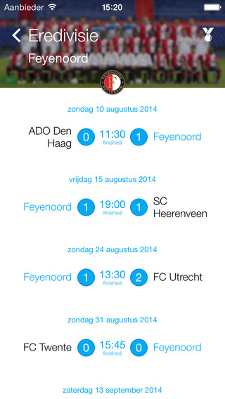 Speelschema Eredivisie iPhone iPad