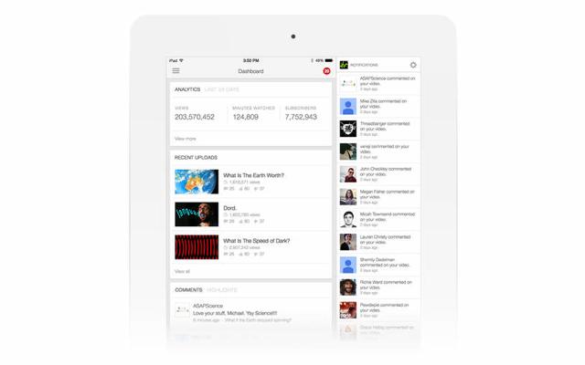 YouTube Creator Studio iPad screenshot