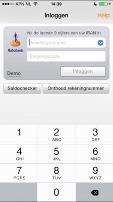 Rabobank numeriek toetsenbord