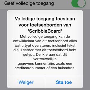 Privacy van iOS 8 toetsenborden volledige toegang