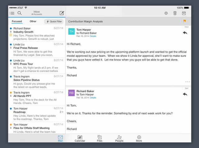 Acompli e-mail en agenda app voor iPad