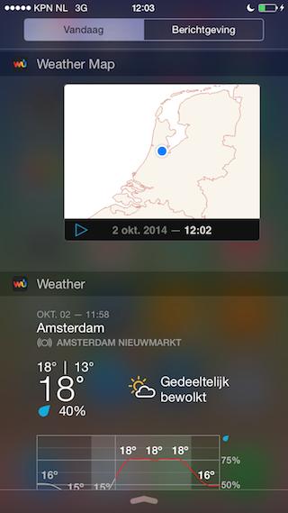Weather Underground widgets buienkaart iPhone