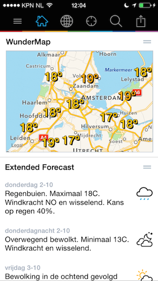 Weather Underground weer per dagdeel