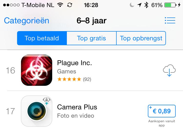 Kinder hitlijsten iOS 8 App Store