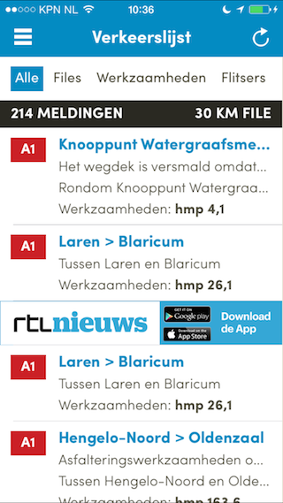 Routeradar review iPhone verkeerslijst