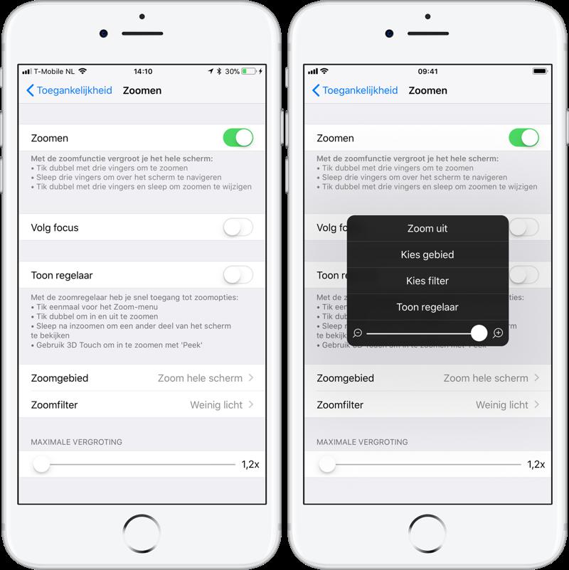 iPhone scherm extra dimmen met zoomfunctie