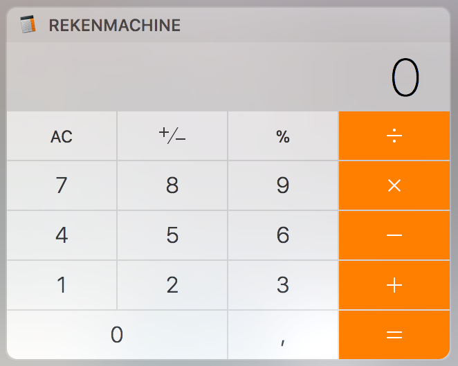 MacOS Berichtencentrum Calculator