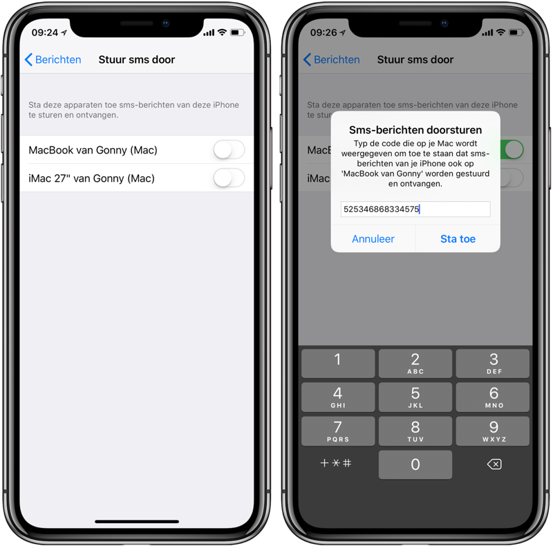 Sms doorsturen naar iPad of Mac