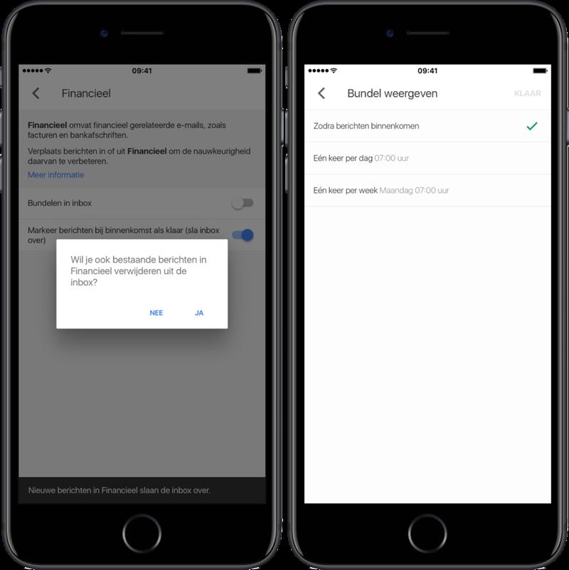 Google Inbox met inboxbundel instellingen.