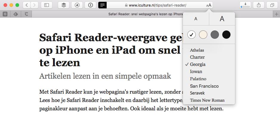 Safari Reader instellen