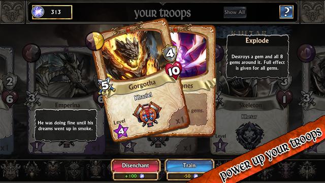 Gems of War iOS kaarten specialiteiten