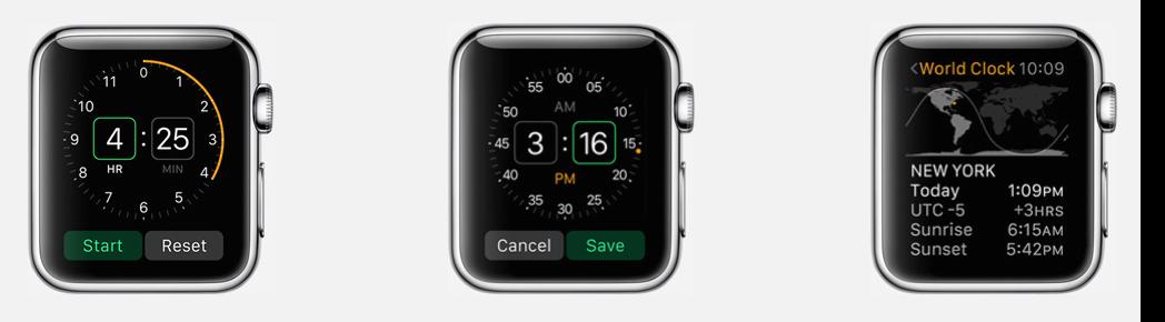 Apple Watch timer wekker wereldklok