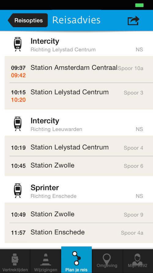 9292 iOS live informatie