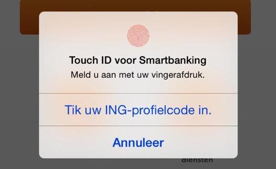 ING Smart Banking Touch ID vingerafdruk