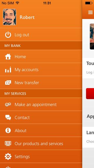 ING Smart Banking oranje hoofdmenu