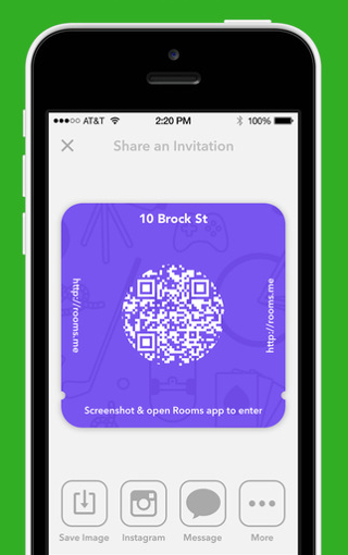 Facebook Rooms iPhone ticket QR-code toegang