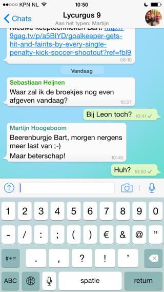 WhatsApp groepsgesprek zien wie er typt
