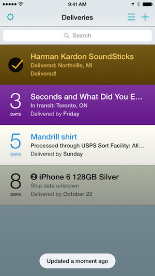 Deliveries widget iPhone iPad