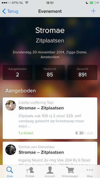 TicketSwap iPhone tickets zitplaatsen 320