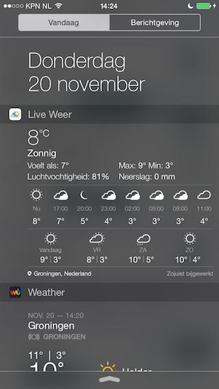 Live Weer widget uitgebreid iPhone