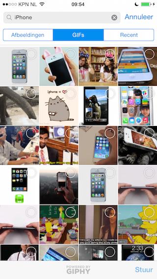 Telegram iPhone GIF versturen