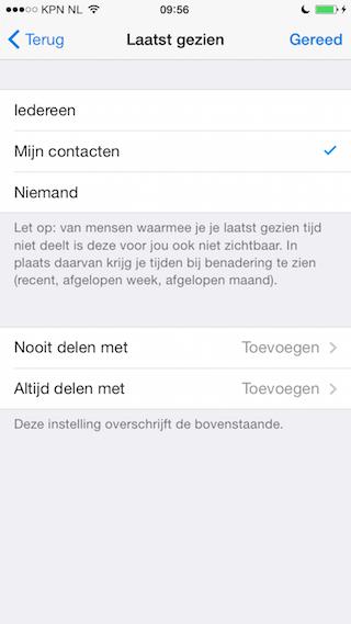 Telegram privacy instelling