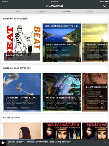 Mixcloud discover sectie iPad