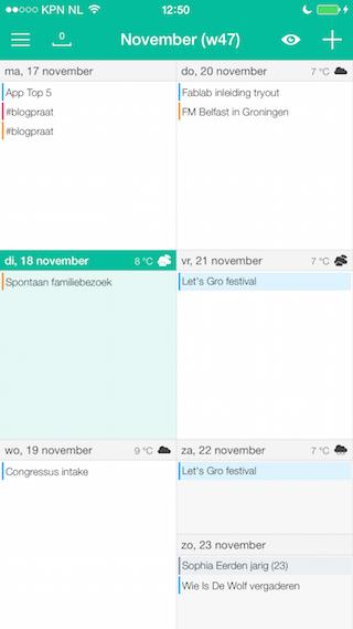 Wave Calendar review agenda overzicht