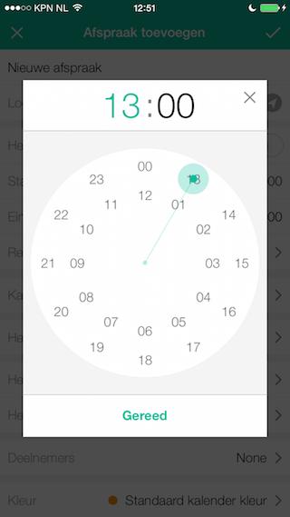 Wave Calendar review tijd instellen