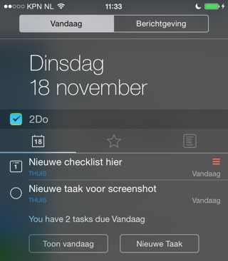 2Do iPhone todo-app widget