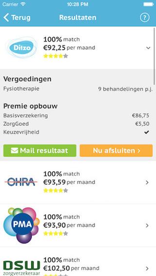Zorgverzekering Wijzer resultaten Ditzo iPhone