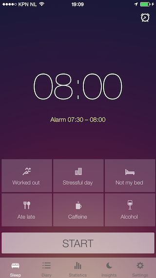 Sleep Better iPhone alarm scherm