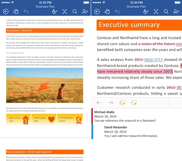 Microsoft Office Word voor iPhone