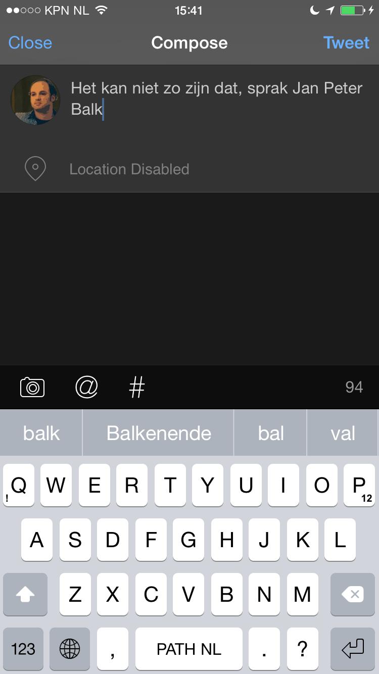 iOS 8 toetsenborden woordenboek Path Input