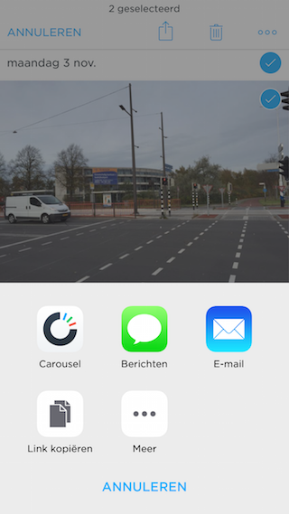 Carousel Dropbox foto delen iPhone
