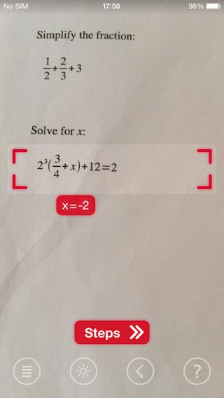 PhotoMath iPhone inscannen wiskundige formule