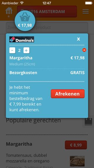 Thuisbezorgd.nl iPhone app afrekenen