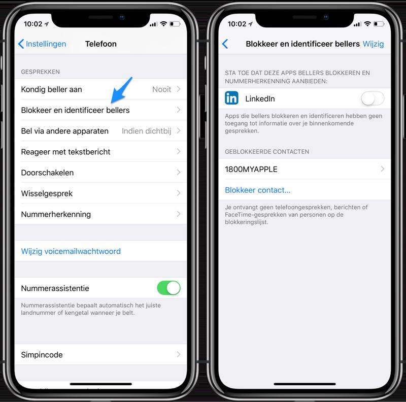 Telefoonnummers blokkeren iPhone