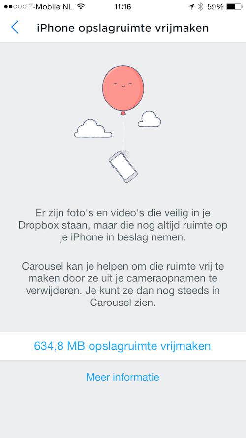 Dropbox Carousel foto's verwijderen