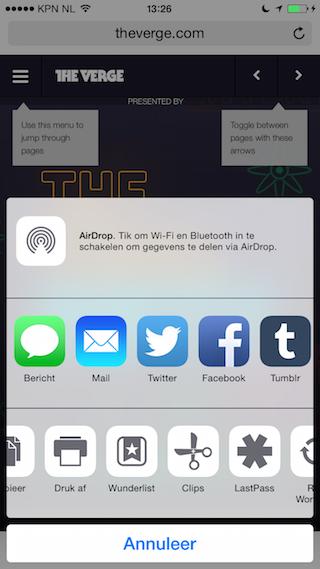 Wunderlist update deel extensie iPhone