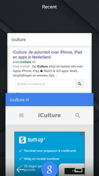 Google Now tabbladen open