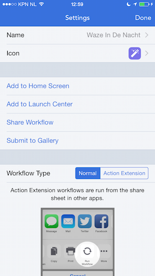 Workflow review iPhone handeling