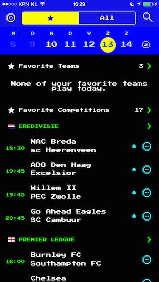 Forza Football Teletekst thema wedstrijden iPhone