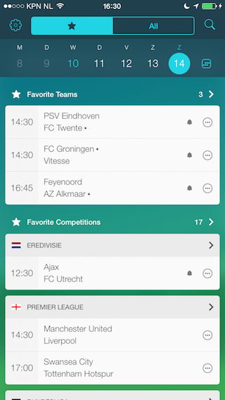 Forza Football favoriete teams iPhone
