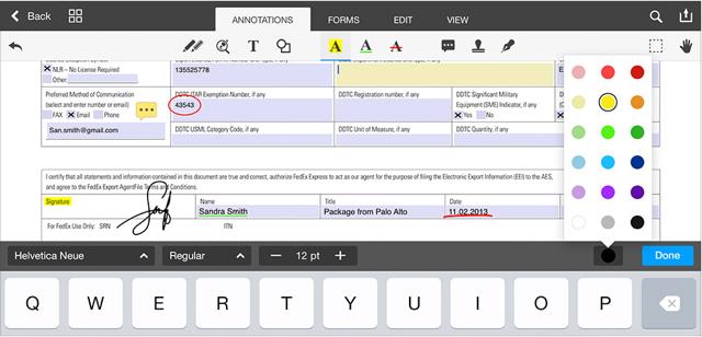 PDF Office iPad formulier invullen en kleuren